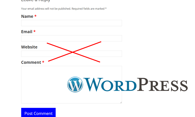 Як видалити непотрібне поле Website у формі коментування