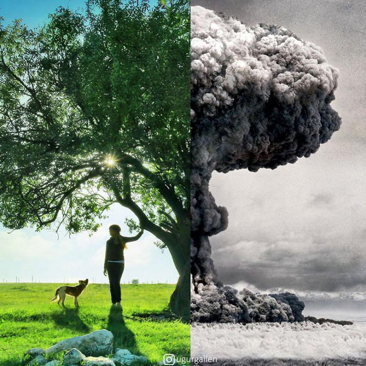 Страшні контрасти сучасності (мир та війна) – фото